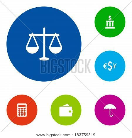 Set Of 6 Finance Icons Set.Collection Of Currency, Calculate, Building And Other Elements.