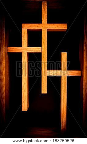 Three Christian Crosses in Orange with Black Background
