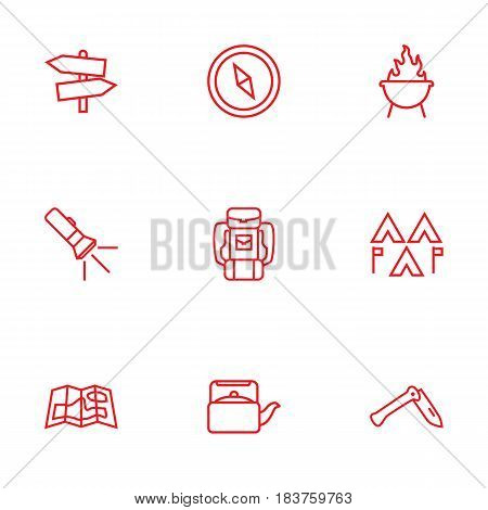 Set Of 9 Adventure Outline Icons Set.Collection Of Baggage, Gps, Encampment And Other Elements.