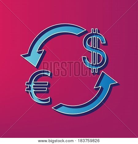 Currency exchange sign. Euro and Dollar. Vector. Blue 3d printed icon on magenta background.