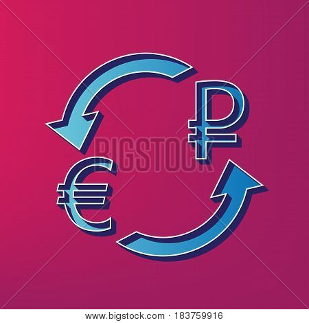 Currency exchange sign. Euro and Russia Ruble. Vector. Blue 3d printed icon on magenta background.