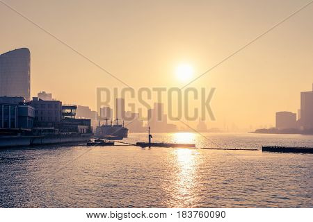 sunset view of cityscape along riversidelocated in China.