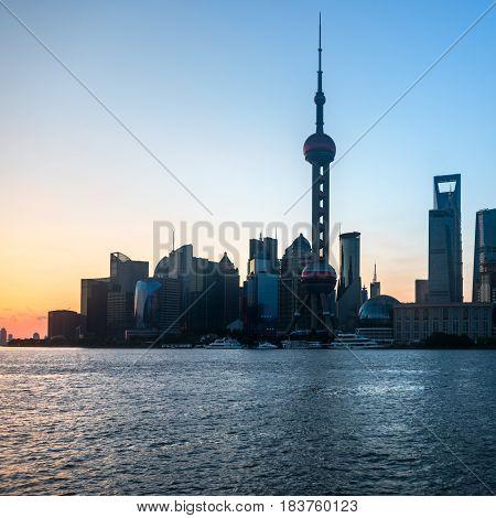 Shanghai skyline panoramalandmarks of Shanghai with Huangpu river in China.