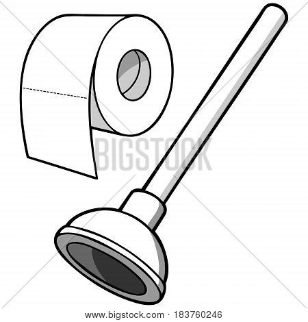 A vector illustration of a Plunger and a roll of Toilet Paper,