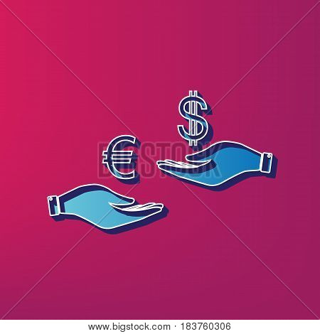 Currency exchange from hand to hand. Euro and Dollar. Vector. Blue 3d printed icon on magenta background.