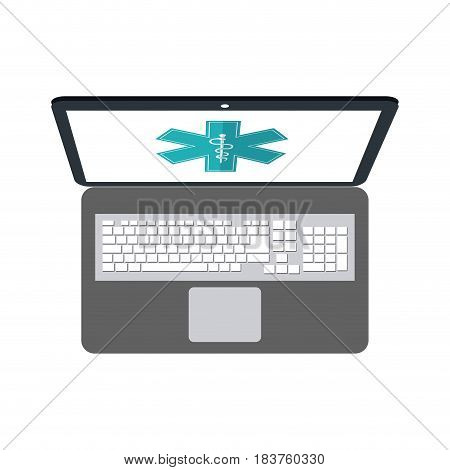 computer with asclepius rod on screen healthcare icon image vector illustration design
