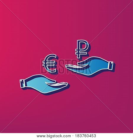 Currency exchange from hand to hand. Euro and Ruble. Vector. Blue 3d printed icon on magenta background.
