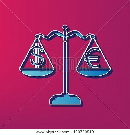 Justice scales with currency exchange sign. Vector. Blue 3d printed icon on magenta background.