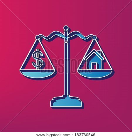 House and dollar symbol on scales. Vector. Blue 3d printed icon on magenta background.