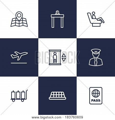 Set Of 9 Airplane Outline Icons Set.Collection Of Pilot, Business Class, Taxi And Other Elements.