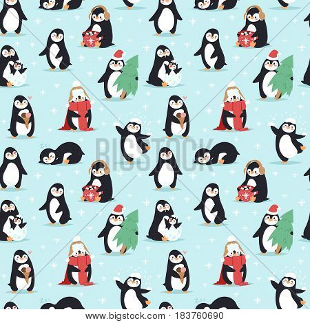Childish christmas and new year vector seamless pattern in flat with cute penguins decorative background for gift boxes. Celebration snowflakes wallpaper