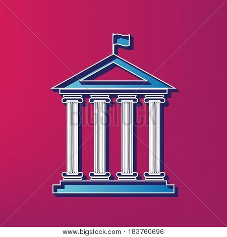Historical building with flag. Vector. Blue 3d printed icon on magenta background.