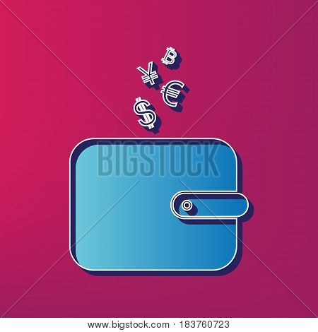 Wallet sign with currency symbols. Vector. Blue 3d printed icon on magenta background.