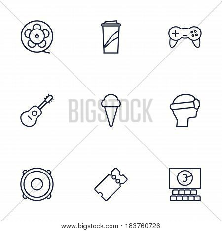 Set Of 9 Amusement Outline Icons Set.Collection Of Game Controller, Film Role, Soft Drink And Other Elements.