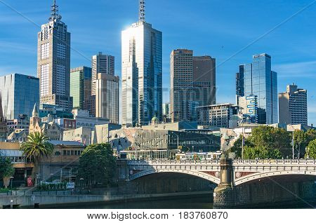 Melbourne Downtown Cityscape With Skyscrapers And Office Buildings