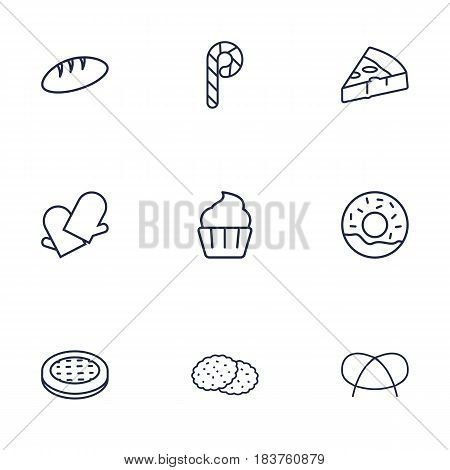 Set Of 9 Oven Outline Icons Set.Collection Of Gloves, Cupcake, Bread And Other Elements.