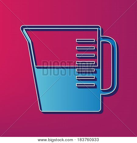 Beaker sign. Vector. Blue 3d printed icon on magenta background.