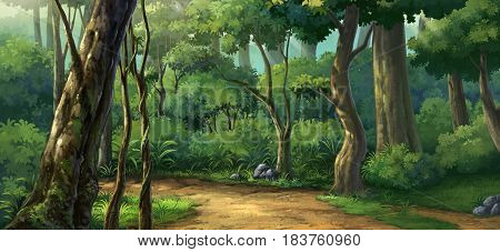 Illustration of jungle plenteous in the morring time