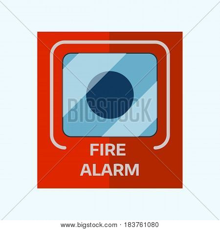 Fire alarm box on cement wall for warning and security system wall bell button evacuation symbol protection push vector illustration. Firefighter flame panel mounted information equipment.