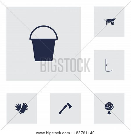 Set Of 6 Horticulture Icons Set.Collection Of Axe, Wheelbarrow, Cutter And Other Elements.