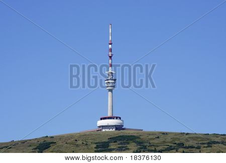 TV transmitter with restaurant and outlook-tower on a mountain top by name Praded (Great-grandfather) at mountains Jesenik at Czech republic at Europe