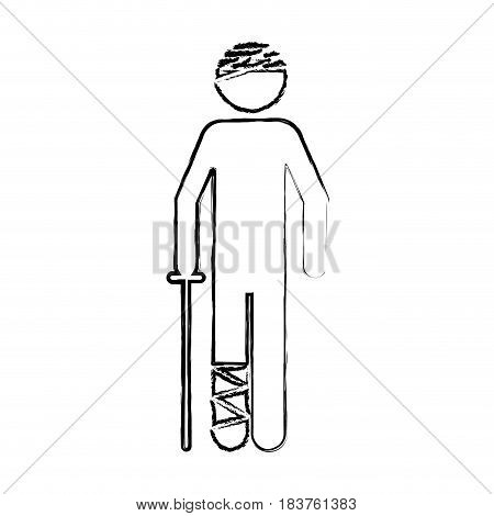 blurred silhouette pictogram bandaged patient icon flat vector illustration