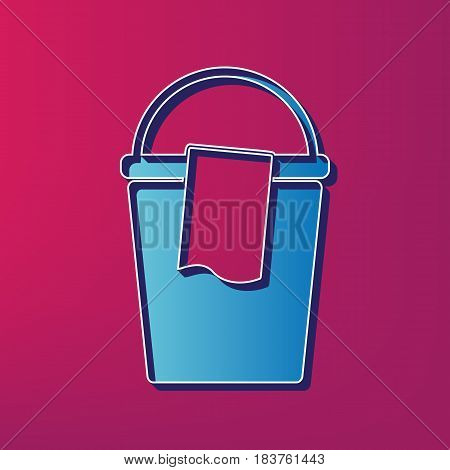 Bucket and a rag sign. Vector. Blue 3d printed icon on magenta background.