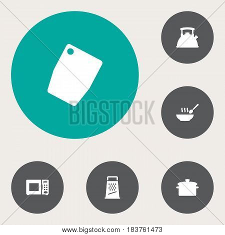 Set Of 6 Cooking Icons Set.Collection Of Kitchen Rasp, Cutting Surface, Teapot And Other Elements.