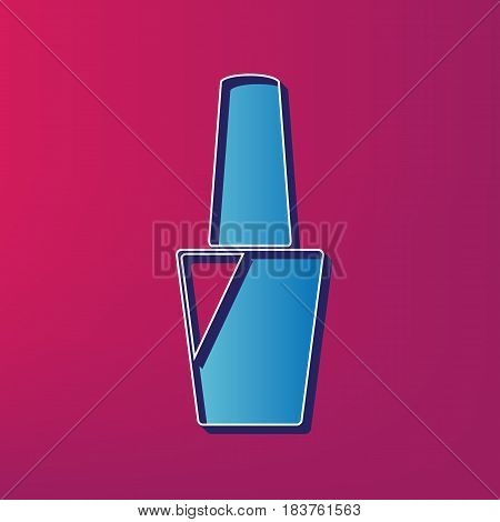 Nail polish sign. Vector. Blue 3d printed icon on magenta background.