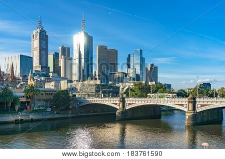 Melbourne Cityscape With Princess Bridge Over Yarra River