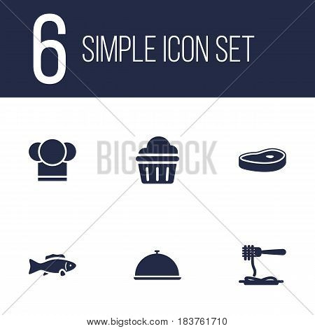 Set Of 6 Cafe Icons Set.Collection Of Tuna, Meat, Chef And Other Elements.
