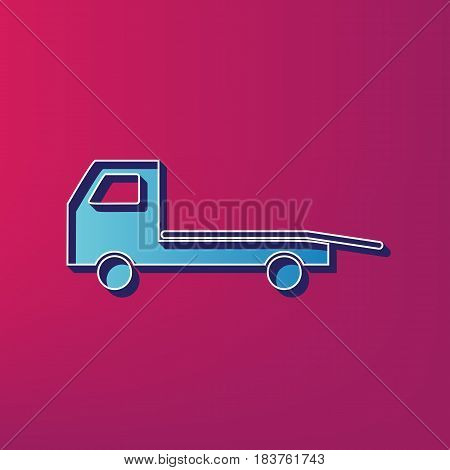 Service of evacuation sign. Wrecking car side. Car evacuator. Vehicle towing. Vector. Blue 3d printed icon on magenta background.