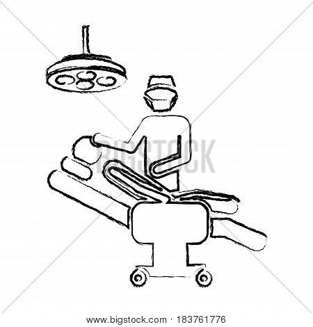 blurred silhouette pictogram person with surgeon vector illustration