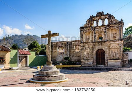 Santa Ana, Guatemala - March 26 2017: Hermitage ruins of Ermita de Santa Isabel in village of Santa Ana outside colonial city & UNESCO World Heritage Site of Antigua, Guatemala, Central America