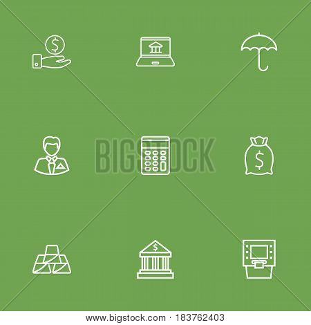 Set Of 9 Sponsor Outline Icons Set.Collection Of Bank, Golden Bars, Atm And Other Elements.