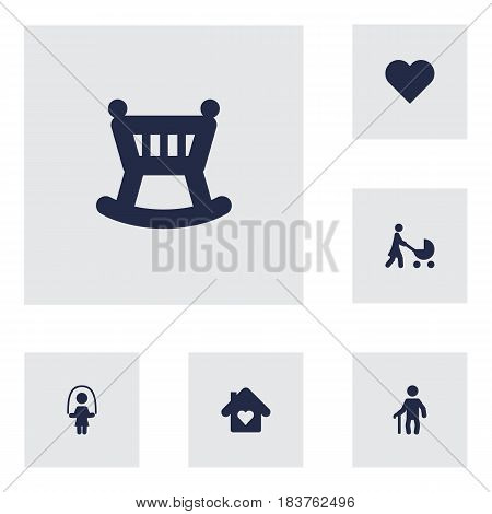 Set Of 6 People Icons Set.Collection Of House, Perambulator, Heart And Other Elements.