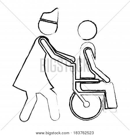 blurred silhouette nurse helping another person push a wheelchair vector illustration