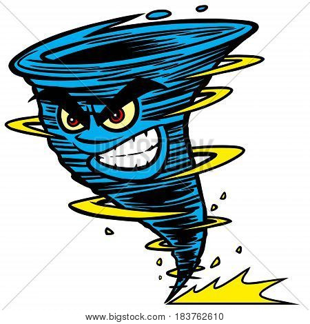 A vector illustration of a Tornado mascot.