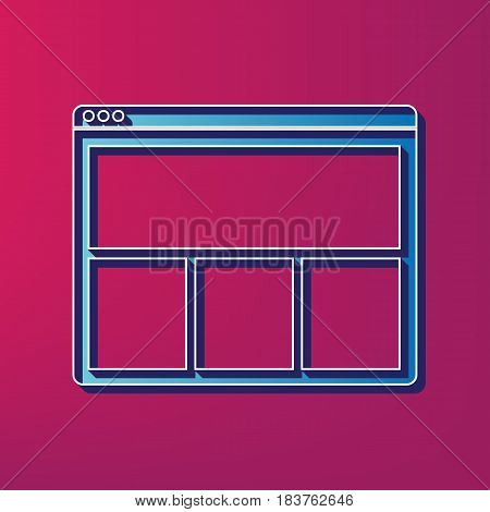 Web window sign. Vector. Blue 3d printed icon on magenta background.