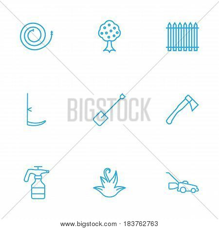 Set Of 9 Household Outline Icons Set.Collection Of Palisade, Firehose, Scythe And Other Elements.
