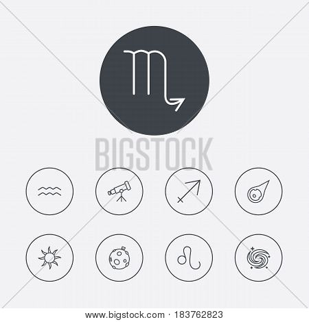 Set Of 9 Astrology Outline Icons Set.Collection Of Telescope, Galaxy, Scorpion And Other Elements.