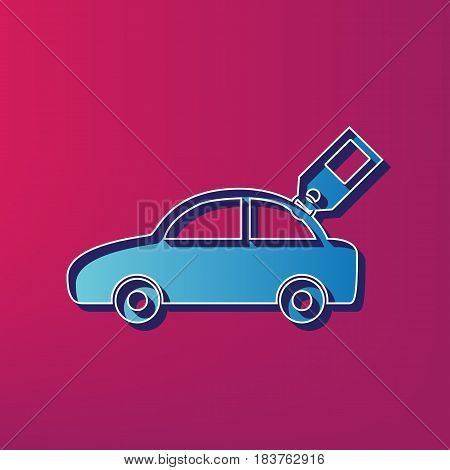 Car sign with tag. Vector. Blue 3d printed icon on magenta background.
