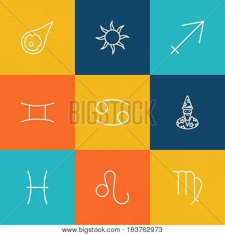 Set Of 9 Horoscope Outline Icons Set.Collection Of Sagittarius, Virgo, Pisces And Other Elements.