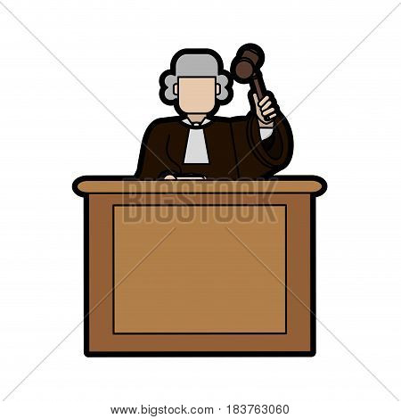 judge wearing white wig and holding gavel law and justice icon image vector illustration design
