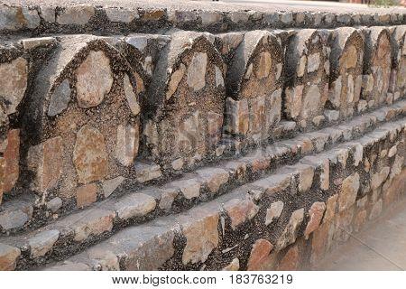 DELHI, INDIA - FEBRUARY 13: Stone wall of Isa Khan's Tomb. Humayun's Tomb complex, Delhi, India on February 13, 2016
