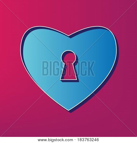 Heart with lock sign. Vector. Blue 3d printed icon on magenta background.