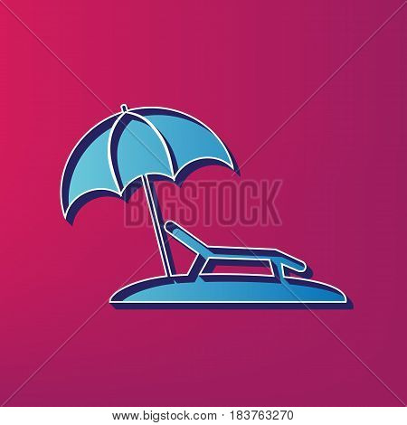 Tropical resort beach. Sunbed Chair sign. Vector. Blue 3d printed icon on magenta background.
