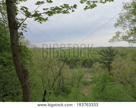 Weather Front in spring passing thru Starved Rock State Park as viewed from bluffs going towards St. Louis Canyon.