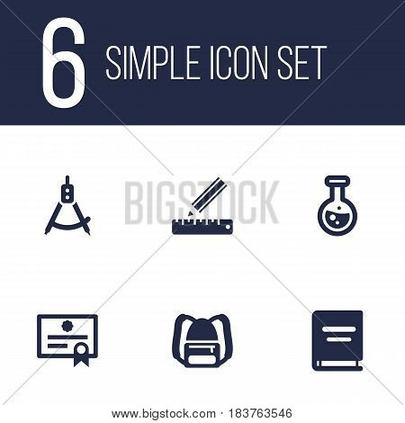 Set Of 6 Science Icons Set.Collection Of Flask, Textbook, Certificate And Other Elements.