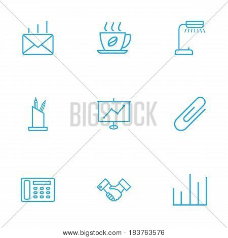 Set Of 9 Service Outline Icons Set.Collection Of Fastener Paper, Chart, Pen Storage And Other Elements.